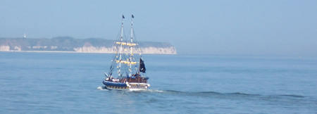 The Pirate Ship heading out to sea